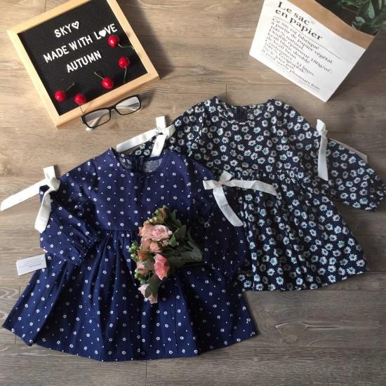 Áo váy thu đông bé gái hoa nơ tay